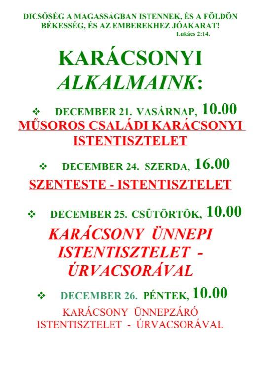 Karácsonyi alkalmaink - 2014