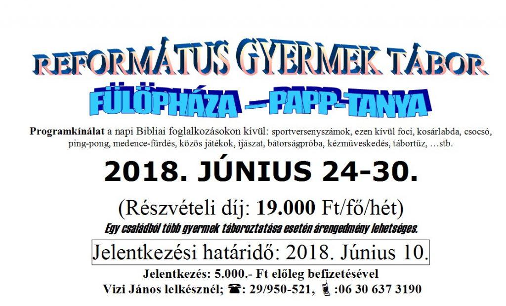 REFORMÁTUS GYERMEK TÁBOR