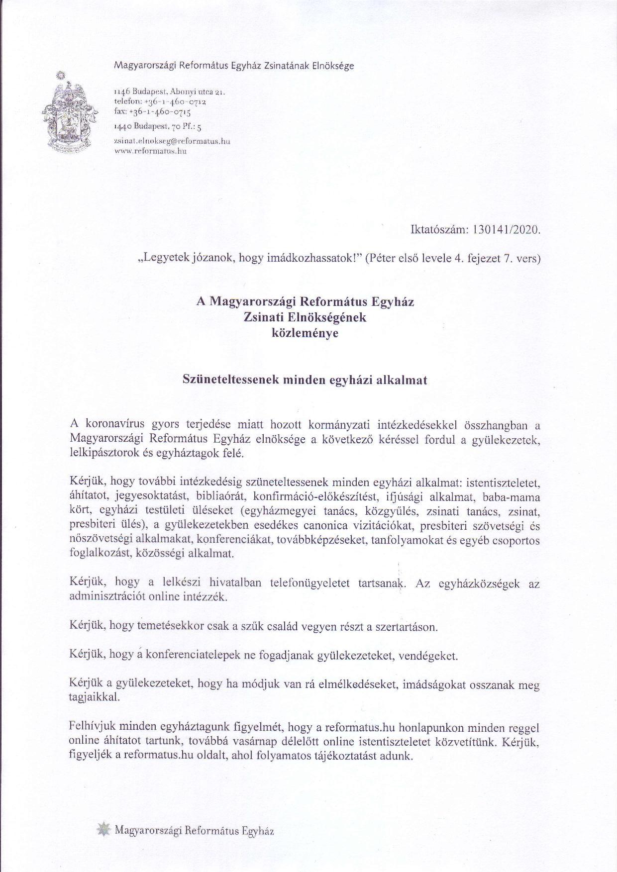 A Magyarországi Református Egyház Zsinati Elnökségének közleménye - 1. oldal